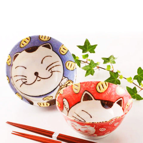 concept japan 2 bowl set 'lucky cats'