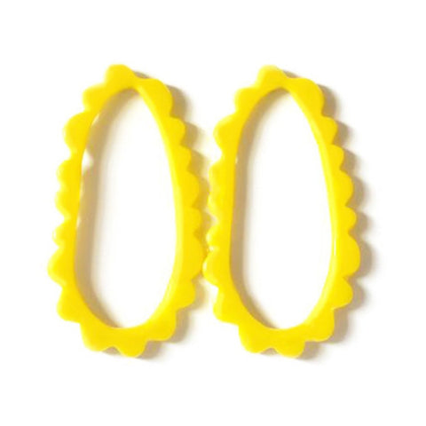 flock curiosity assembly earrings 'oval frill studs' yellow