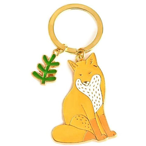 enamel key ring 'fox & leaf'