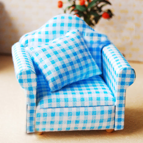 miniature chair 'gingham armchair' blue