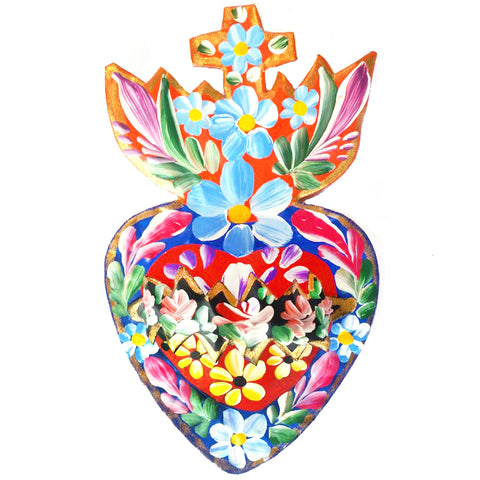 mexican tin 'flaming heart floral' wall hanging small