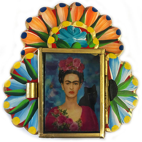 mexican tin nicho 'frida with wings'