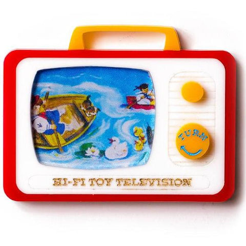 martinis & slippers brooch 'hi fi toy television'