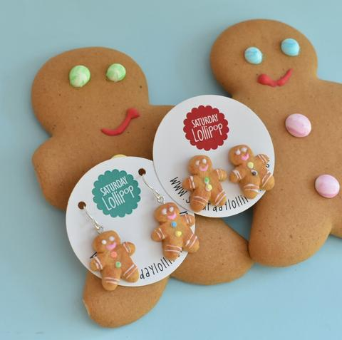 saturday lollipop earrings 'gingerbread man' studs