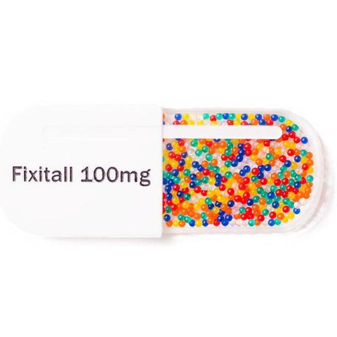 martinis & slippers brooch 'fixitall 100mg pill' white