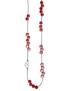 elk necklace 'disc bead station' red