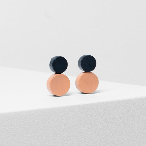 elk earrings 'lissi' apricot & charcoal