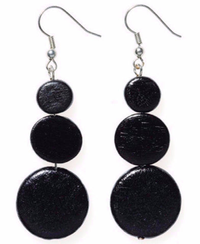 ELK '3 DISC' DROP EARRINGS BLACK