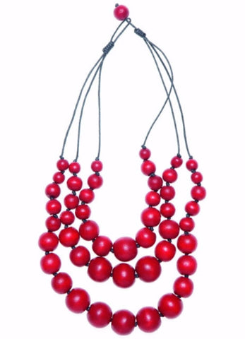ELK '3 ROW CHUNKY' NECKLACE RED