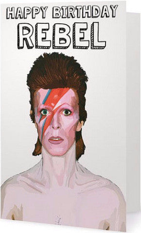 ex-girlfriends rebellion greeting card 'bowie rebel'