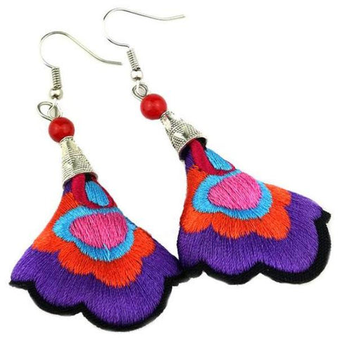 boho earrings 'embroidered cone' purple