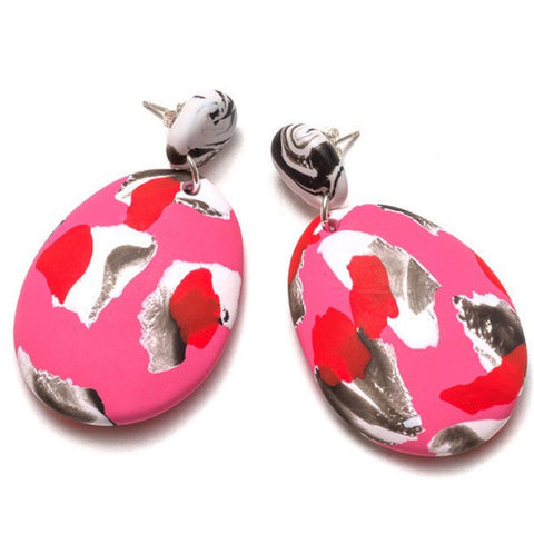 EMILY GREEN 'LIPSTICK PINK COLLAGE' DROP EARRINGS
