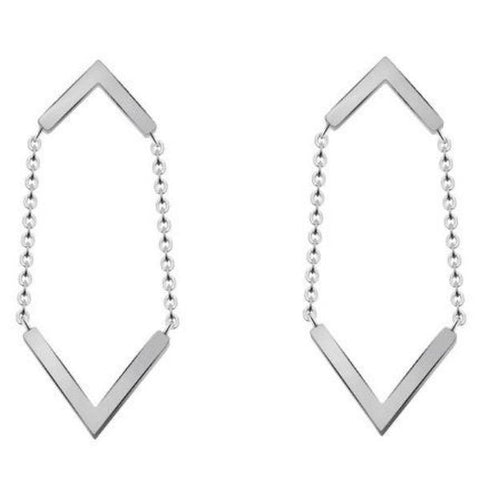 sugar earrings 'double chevron chain' stud drop silver