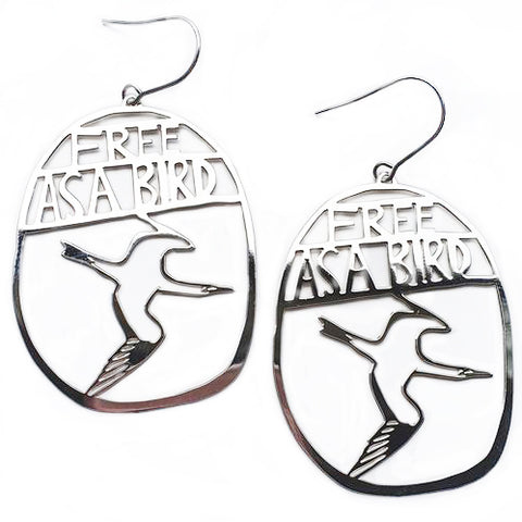 denz & co. earrings 'free as a bird dangles' silver