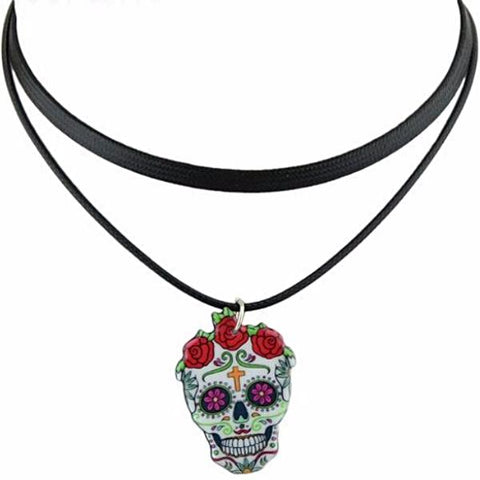 MEXICAN 'DAY OF THE DEAD SUGAR SKULL' CHOKER NECKLACE