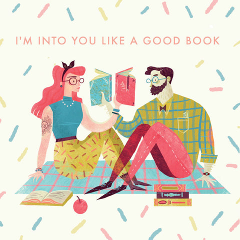 la la land greeting card 'book lovers'