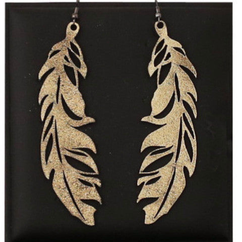 DOURY 'FEATHER' EARRINGS GOLD LGE