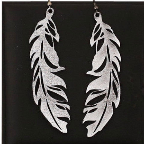 doury earrings 'feather' silver large