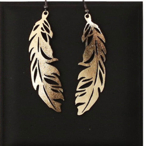 DOURY 'FEATHER' EARRINGS GOLD SML