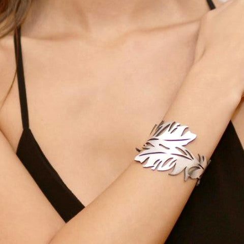 DOURY 'FEATHER CUFF' BRACELET SILVER