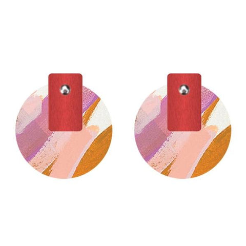 moe moe earrings 'flossy layered medium circle studs'