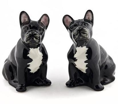 quail ceramics salt & pepper 'french bulldog' black/white