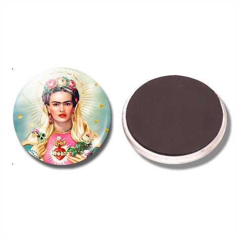 magnet round glass 'frida with sacred heart'
