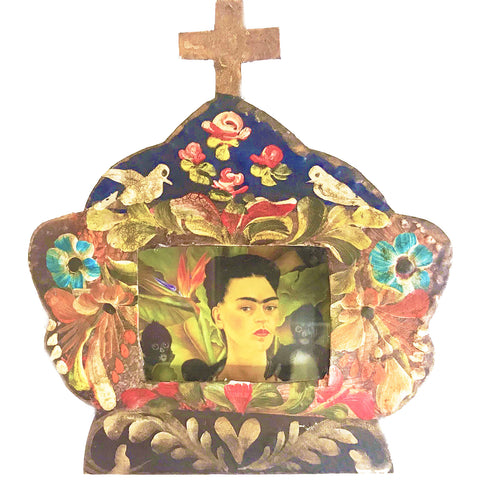 mexican tin nicho 'frida flowers with cross'