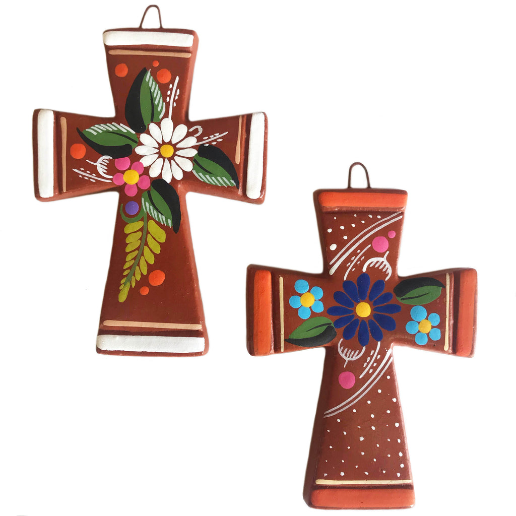 mexican cross 'clay with flowers' - the-tangerine-fox