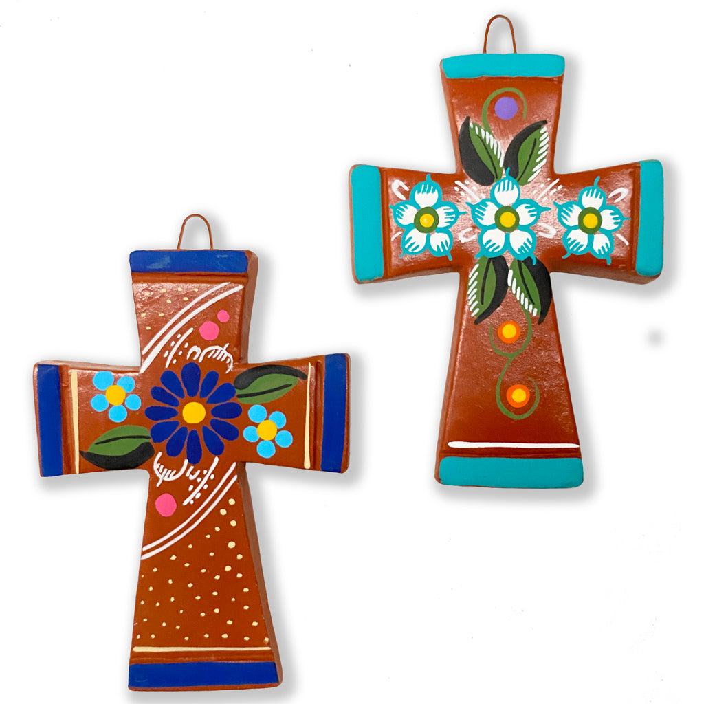 mexican wall cross 'clay with flowers'