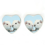 sugar earrings 'guinea pig heart' glass dome studs