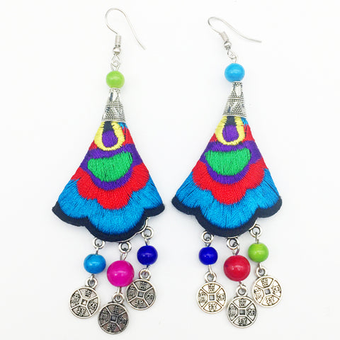 SUGAR 'CHINESE EMBROIDERED COIN' EARRINGS