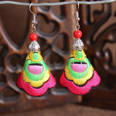 boho earrings 'embroidered cone' fuschia pink