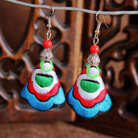 boho earrings 'embroidered cone' turquoise