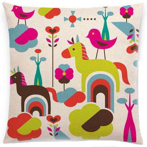 CUSHION COVER 'UNICORNS & BIRDS'