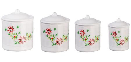 miniature canisters 'floral white' 4 set