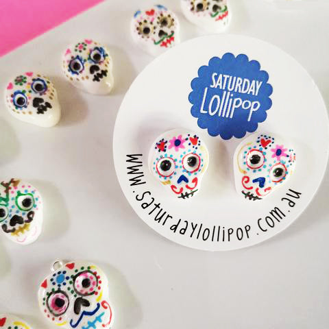saturday lollipop earrings 'skull studs'