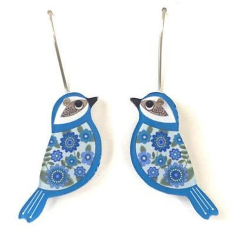 smyle designs earrings 'retro floral bird' blue mini