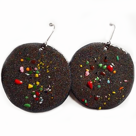 denz & co. earrings 'charcoal dots big disc drops' - the-tangerine-fox