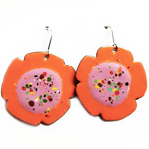 denz & co earrings 'orange & purple flower drops'
