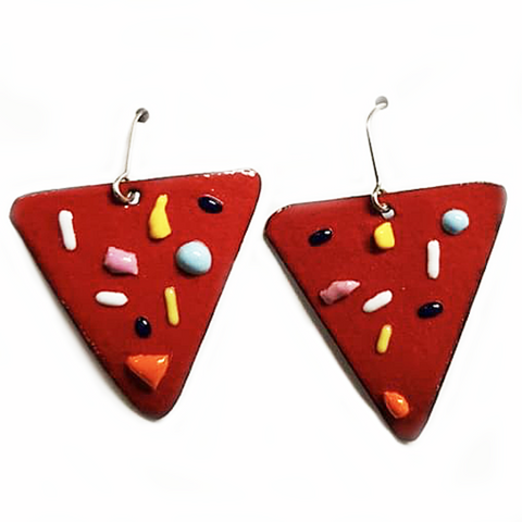 denz & co earrings 'dots & dashes triangle drops'