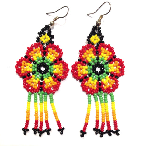 mexican earrings 'huichol beads' yellow