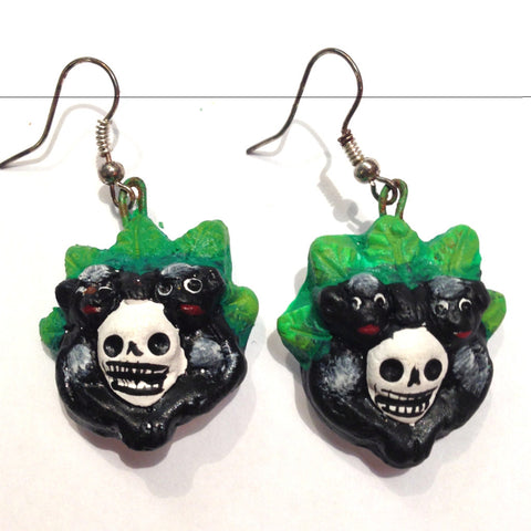 mexican earrings 'clay frida with monkeys'