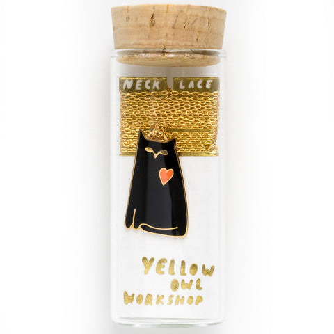 yellow owl workshop necklace 'cat love'