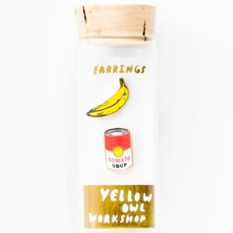 yellow owl workshop earrings 'pop art soup & banana'