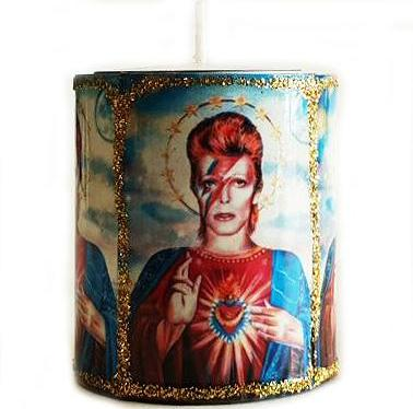 mexican tin candleholder 'david bowie'