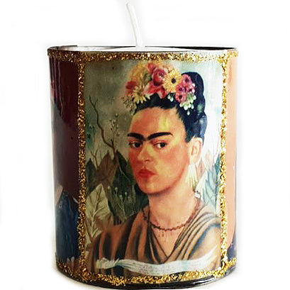 mexican tin candleholder 'frida'