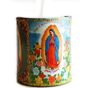 mexican tin candleholder 'virgin guadalupe'