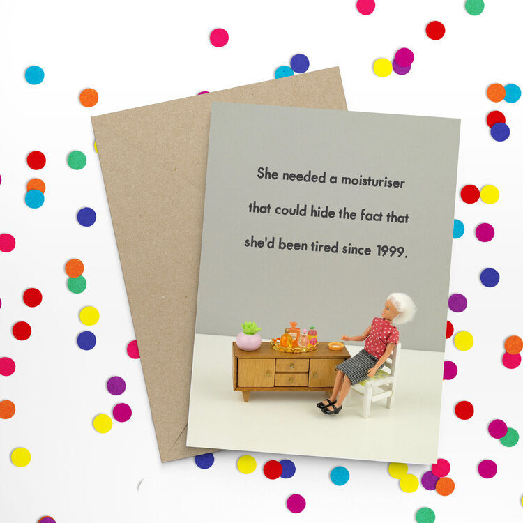 jeffrey & janice greeting card 'tired since 1999'