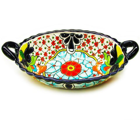 mexican talavera bowl 'oval with handles' - the-tangerine-fox